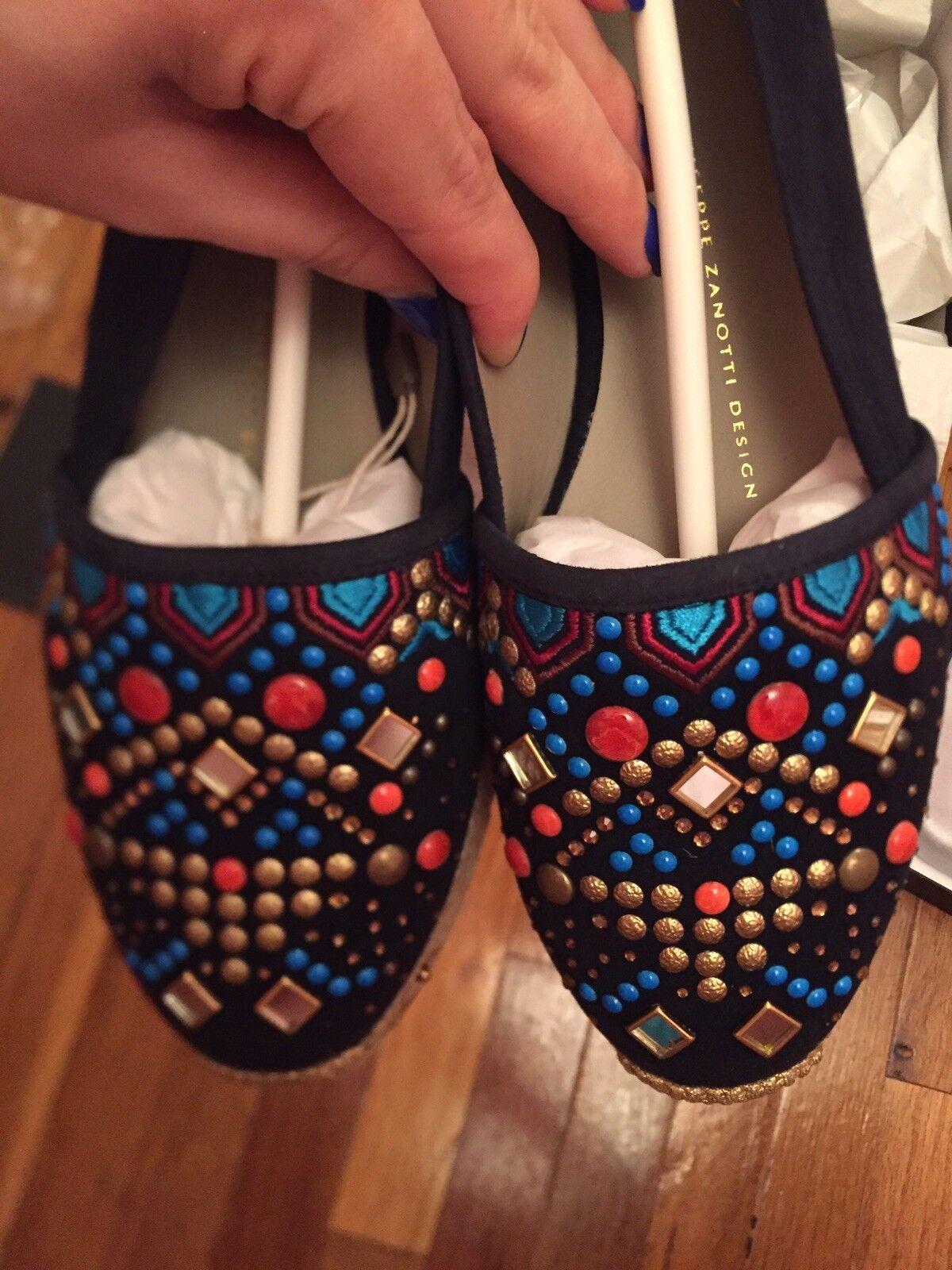 prodotti creativi Giuseppe Zanotti Navy Suede Moroccan Moroccan Moroccan Multi-Colore Embellish Espadrilles NWB 38  i nuovi marchi outlet online