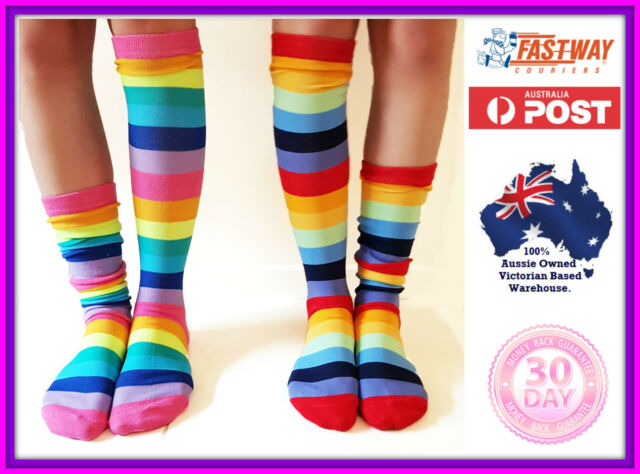 fc289feceddf8 Socks Striped Knee High Roller Derby Novelty Sock 2 Pack Rainbow Color Size  6- 9 for sale online | eBay