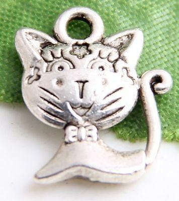 Free Ship 42Pcs Tibetan Silver Lovely Cat Charms 16x12mm