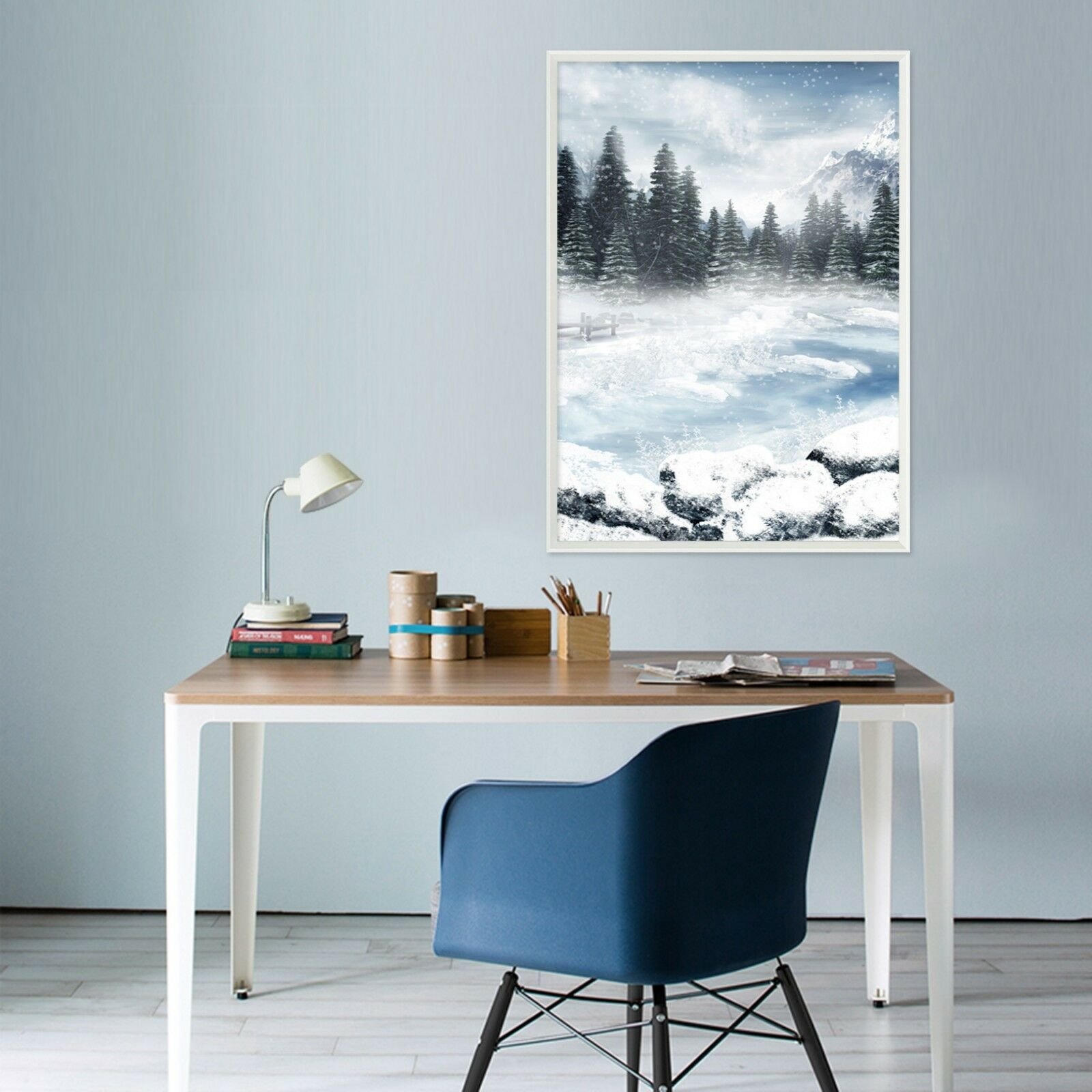 3D Snow Pool Forest 3 Framed Poster Home Decor Print Painting Art AJ WALLPAPER