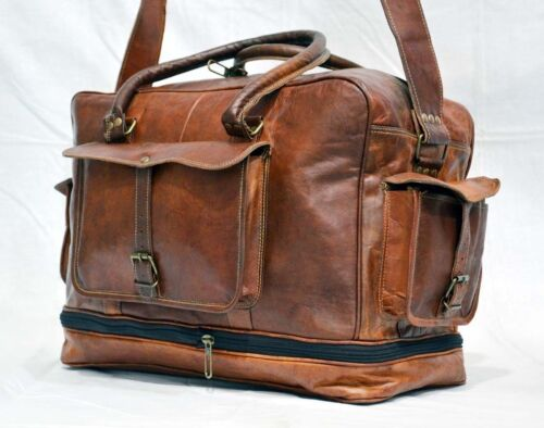 b415258987 Duffle Herr Bagage Vintage Gym Ny S Äkta Leather Bag Travel Weekend Axel  TRxwYEI