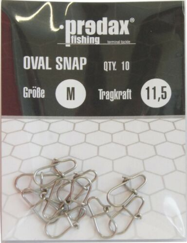 10 Snaps Karabiner zum Raubfischangeln Spinnvorfach Predax Oval Egg Snap