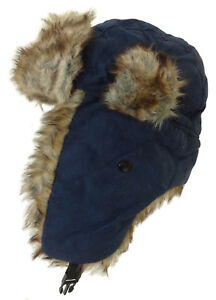 7c5904f813ac7c NEW TRAPPER HAT NAVY BLUE WITH QUILTED LINING FAUX FUR UNISEX SIZE ...