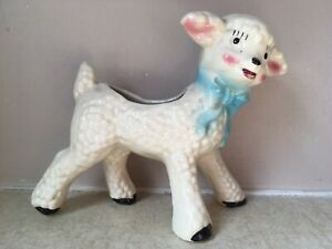 Lamb-PLANTER-Pink-Blue-BOW-6-034-Tall-7-034-Wide-EXCELLENT-Ceramic-VINTAGE-Easter