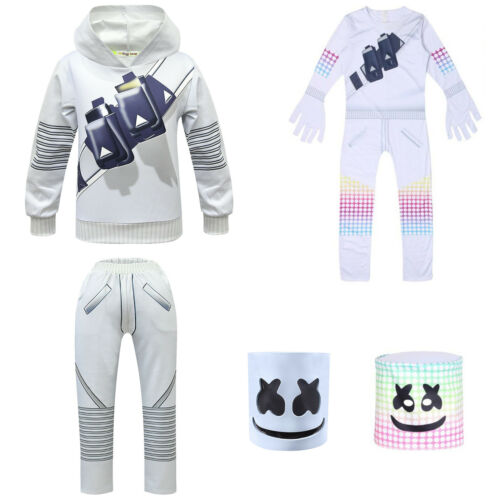 Kid DJ Marshmallow Cosplay Costume Party Mask Jumpsuit Sweatshirt Pants Outfits