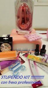 Kit-Ricostruzione-Unghie-Nail-Art-Fresa-Lampada-Senza-Gel-UV-Manicure-Decorazion