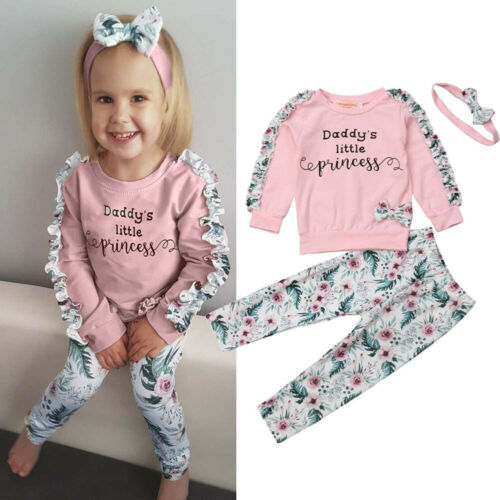 Toddler Baby Girls Floral Clothes Long Sleeve T-shirt+Pants+Headband Outfits Set