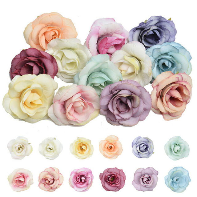 Floral Mauve Ivory Dried Antique Look Silk Rose Heads Wedding Craft Supply 12 PC
