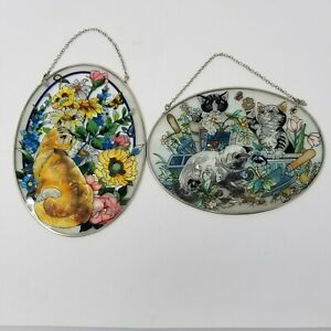AMIA-Glass-Lot-of-2-034-Garden-Cats-034-Oval-Suncatchers-Hand-Painted