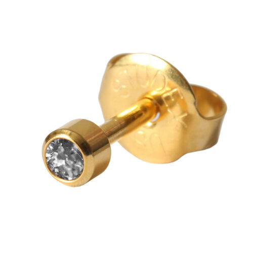 1 Erstohrstecker 750er Gelbgold mit April Kristall 2-3mm
