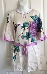 Silk Hand Painted Tunic Butterfly Sleeve Size Large