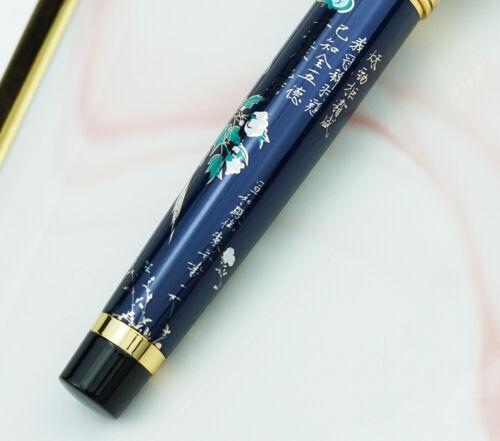 Hand-made Hongdian Metal Fountain Pen Blue Magpie EF//F//Bent Nib Writing Ink Pen