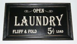 Open-Laundry-Fluff-Fold-5-cents-Load-Vintage-Look-Framed-Wood-Sign