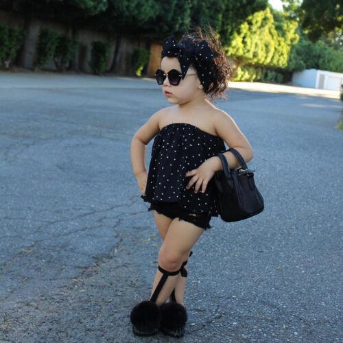 Summer 3PCS Kids Toddler Baby Girl Off Shoulder Tops+Jeans Shorts Pants+Headband