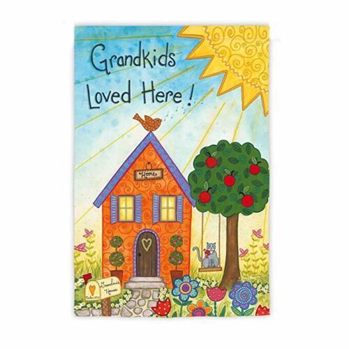 """Evergreen Flag  /""""Grandkids Loved Here/"""" Suede Garden Flag  12 x 18"""