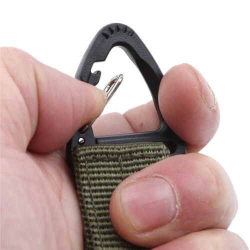 Nylon Belt Strong Buckle Carabiner Backpack Clasp Tool Triangle Elastic Hook HO3