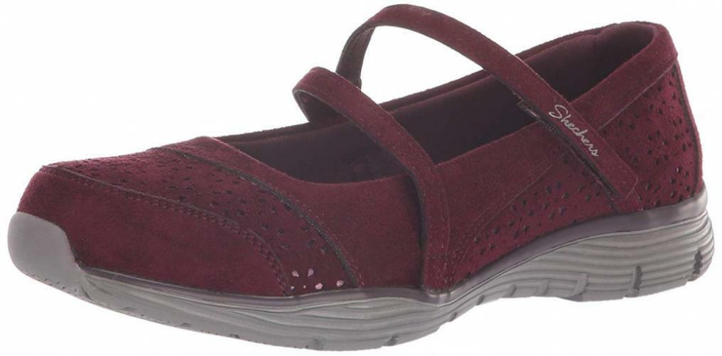 Skechers Women's Seager-Frills & Thrills-Floral Laser Cut Mary Jane Sneaker...