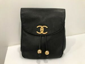 9987dffcd9b64a Image is loading Authentic-Vintage-CHANEL-Black-Caviar-Timeless-Backpack -Gold-