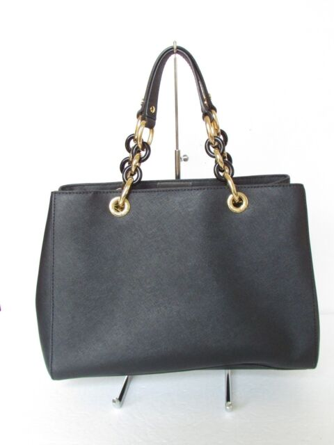 Michael Kors Cynthia Saffiano Black Leather Medium Satchel Handbag Purse
