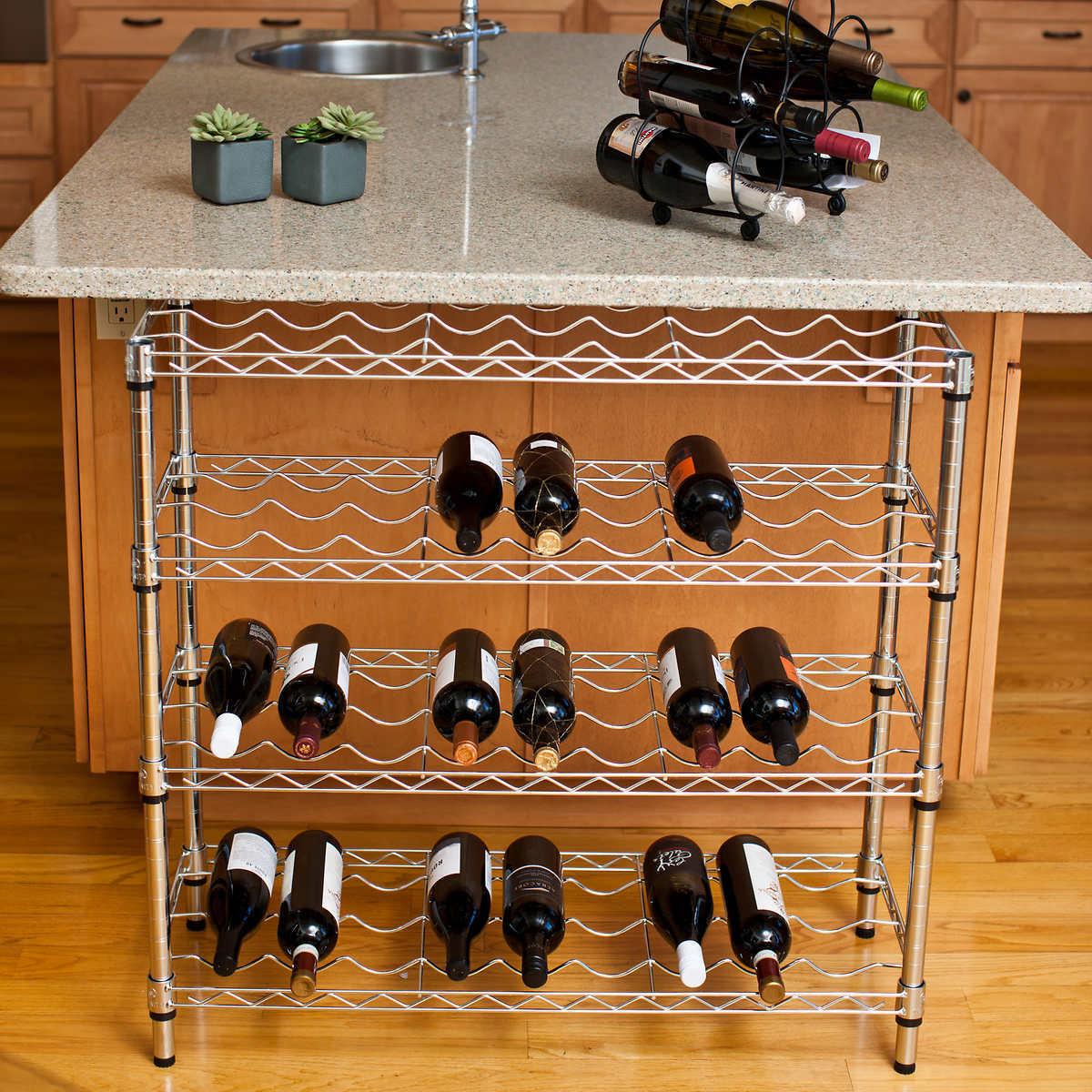 TRINITY EcoStorage 4-Niveau Chrome casier à vin, détient 36 Bouteilles
