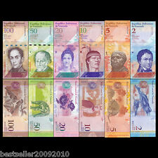 VENEZUELA SET OF 6 UNC BANK NOTES 2,5,10,20 50 AND 100 BOLIVARES UNC # V6