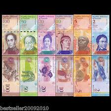 VENEZUELA SET OF 6 UNC BANK NOTES 2,5,10,20 50 AND 100 BOLIVARES UNC # V6