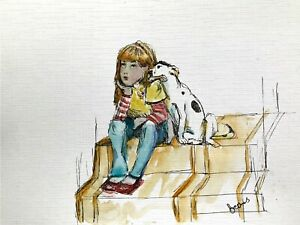 print-of-original-ink-amp-watercolour-painting-Little-girl-amp-dog-wall-art