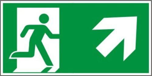 Rettungswegzeichen Schild Rettungsweg rechts aufwärts nach ISO 7010 oder BGV A8