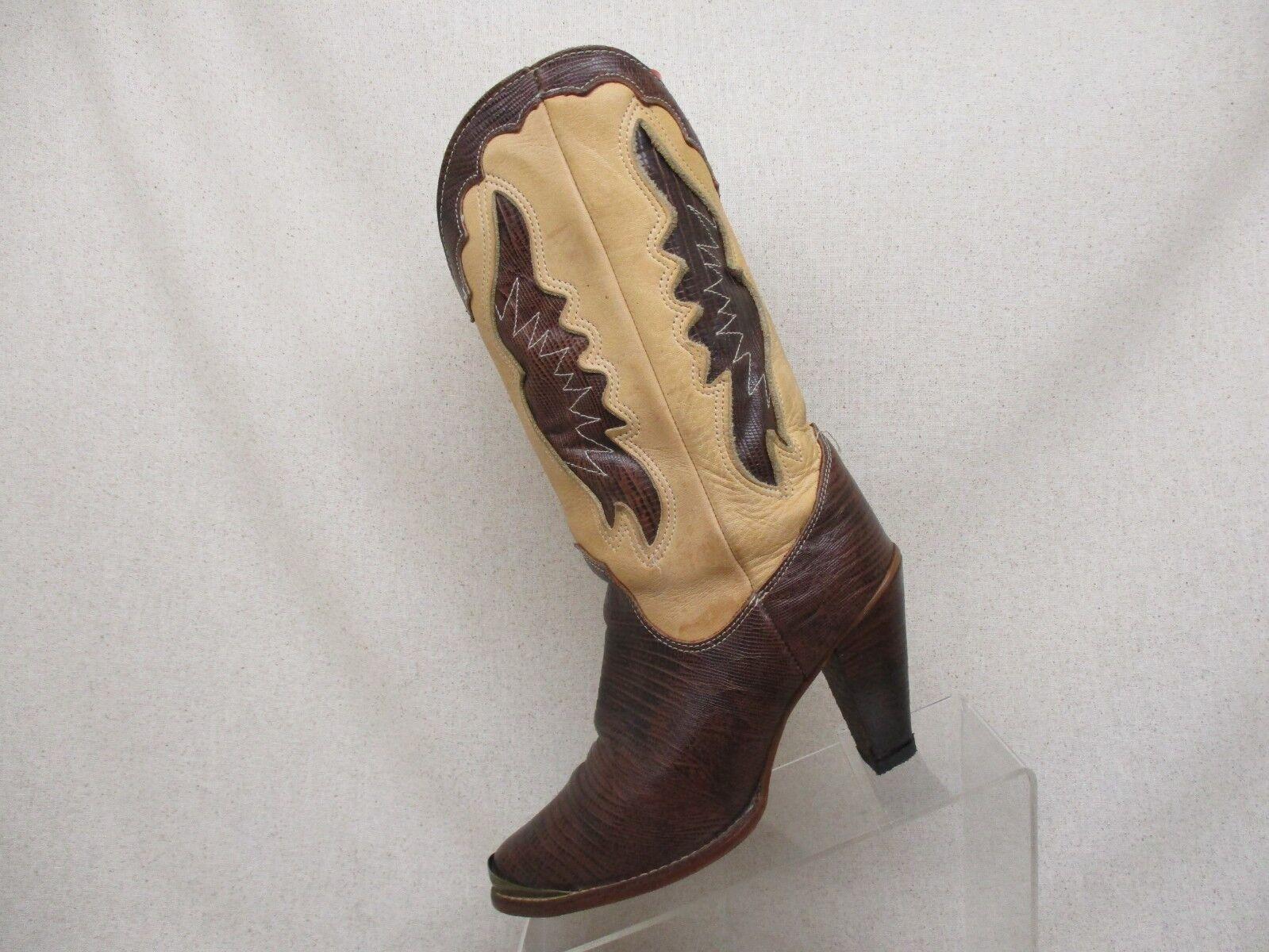 ZODIAC Tan Brown Leather Lizard Skin Cowboy Boots Womens Size 6.5 M Style 202082