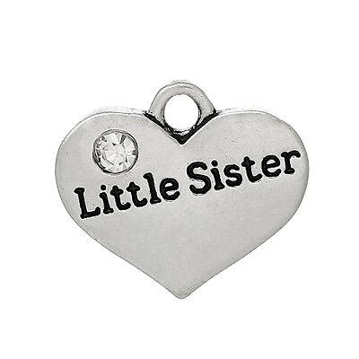 5 ANTIQUE SILVER LITTLE SISTER HEART CHARM/PENDANT~EMBELLISHMENTS~CHAIN (77)UK