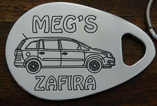 Personalised VAUXHALL ZAFIRA keyring 2005-11 ANY NAME engraved custom made