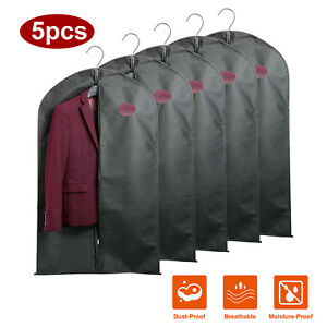 Garment-Bag-Suit-Coat-Hanging-Storage-Cover-Dustproof-Travel-Reusable-Men-5-Pack