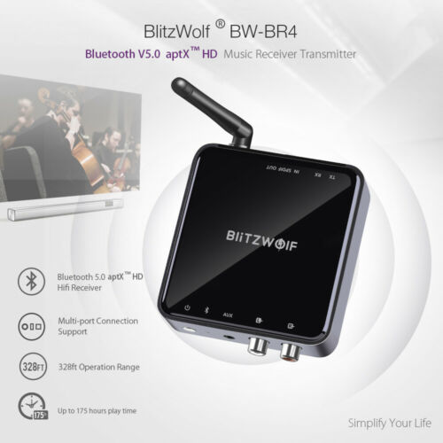 BlitzWolf BW-BR4 bluetooth V5.0 Audio Receiver Transmitter aptX Music TV Adapter