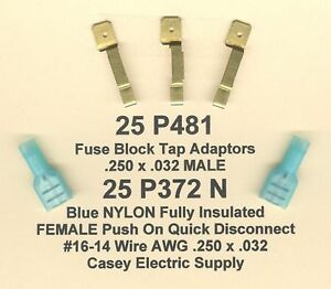 25 Blue NYLON Fully Insulated FLAG Terminal Connectors 16-14 Wire .250 Fem MOLEX
