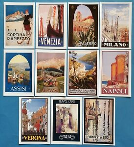 Postcards-Set-of-11-NEW-Stunning-Vintage-Italian-Repro-Travel-Posters-70O