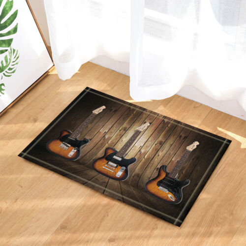 """Music Shower Curtain set Guitar With Wooden Floor And Wall Bathroom Curtain 71/"""""""