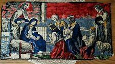"Vintage Christmas Nativity Tapestry Wiseman Sheppard Mary Jesus 19.5""x37"""