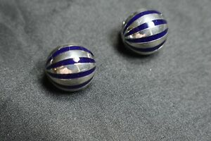 Tiffany-amp-Co-Blue-Enamel-Domed-Sterling-Silver-Earrings-Pierced-Omega-Back-Rare