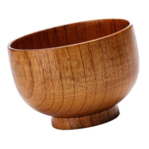 1 piece Solid Wooden Bowl For Rice Soup Dip Kitchenware Decoration Small