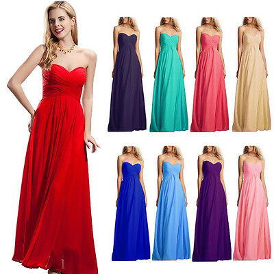 1 Lady Elegant Strapless Formal Bridesmaid Wedding Party Prom Evening Dress Gown