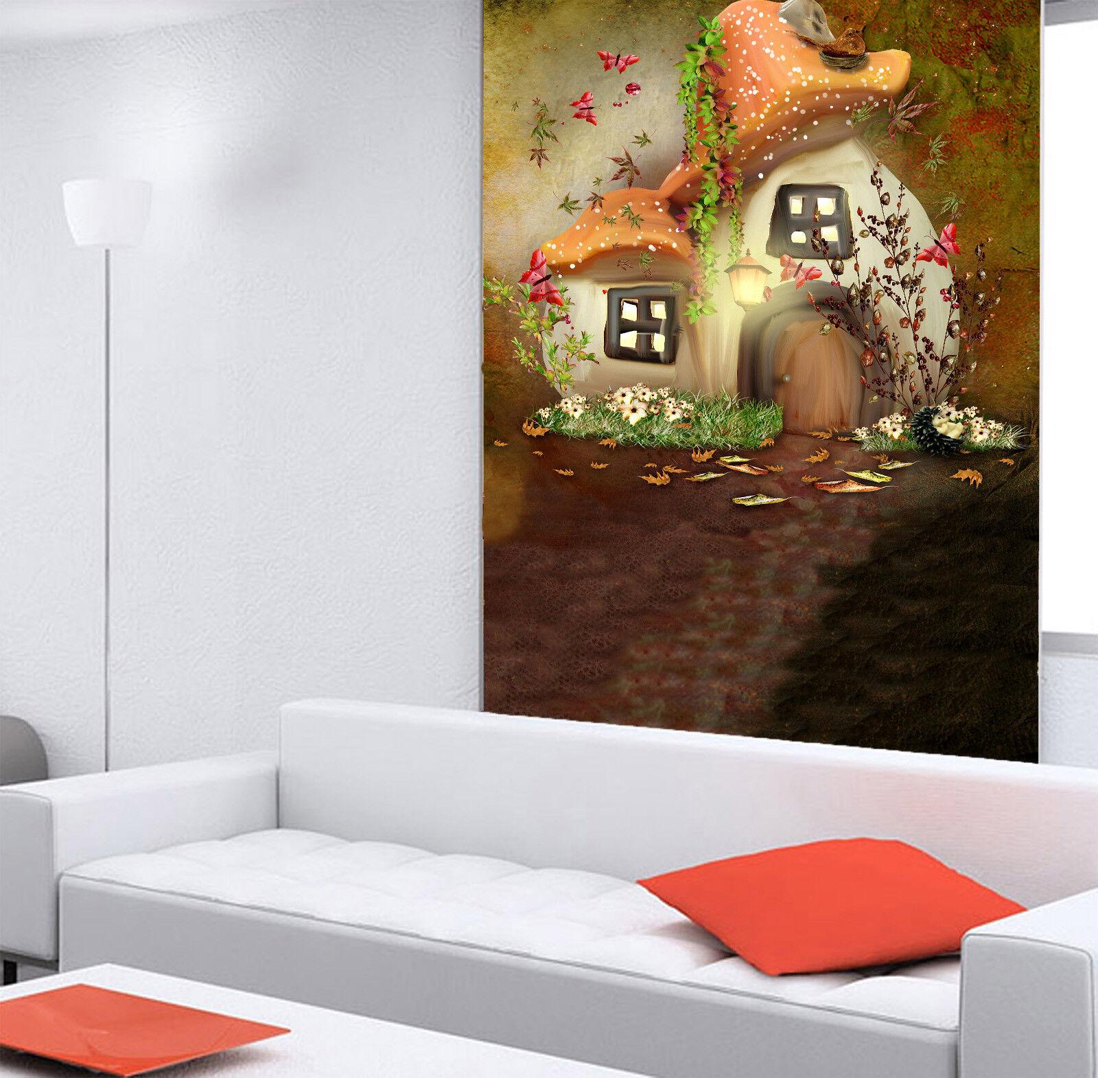 3D Mushroom Hut 452 Wall Paper Wall Print Decal Wall Deco Indoor Mural Summer