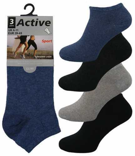 3 Mens Active Sport Cotton Rich Trainer Liner Socks UK 6-11 Assorted