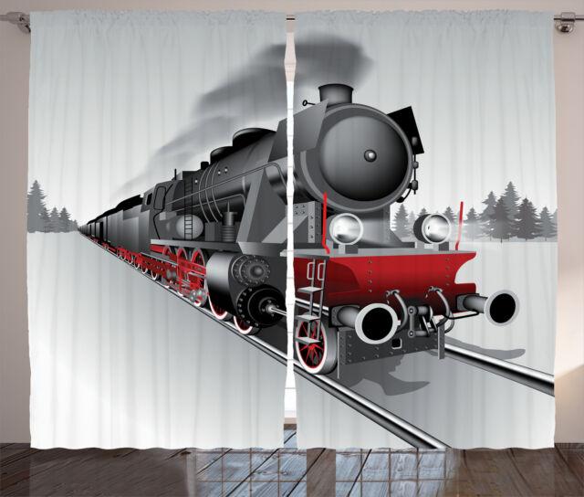 Steam Engine Curtains Railway Train Art Window Drapes 2 Panel Set 108x84 Inches