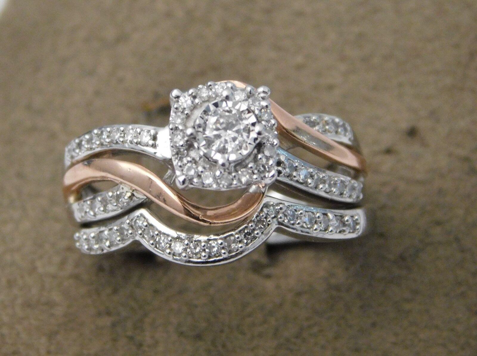 10k White pink gold split Shank Flower Halo  Diamond Engagement Ring Bridal Set