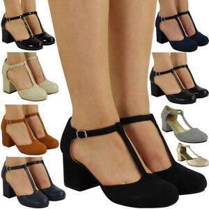 Image Is Loading Womens Las T Bar Buckle Strap Office Work