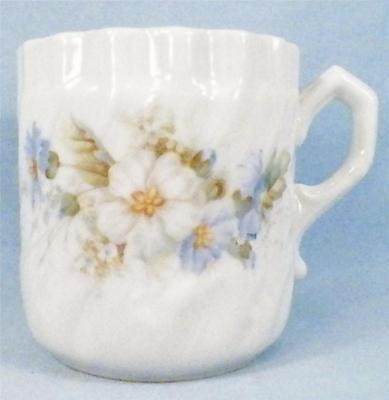 Antique Shaving Mug Blue White Flowers Porcelain Victorian Swirl Leaf A BEAUTY