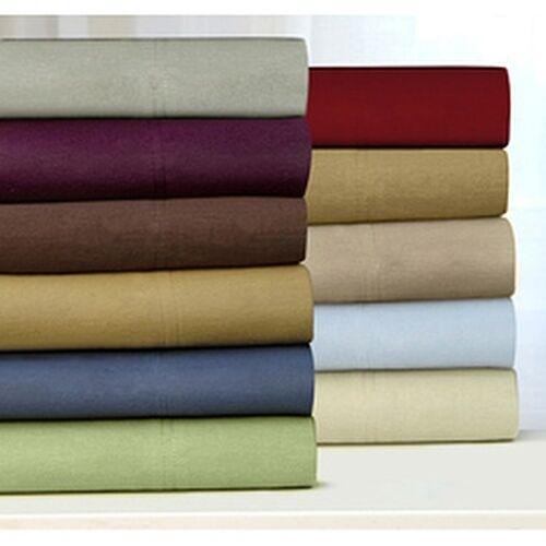 Tribeca Living Luxury Solid Flannel Deep Pocket Sheet Set