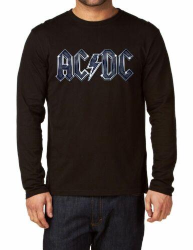 AC DC LOGO men Black T-shirt Men Shirt Rock Band Tee Music Langarm