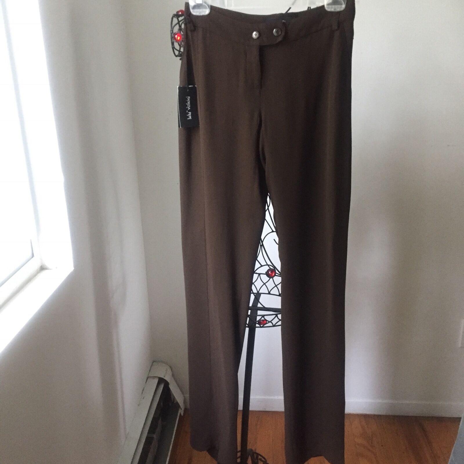 PATRIZIA PEPE Brown 100% Viscose  Straight Leg Trousers  Sz 44  NWT