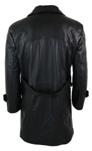 Mens Long 3//4 Dark Goth Punk Rock Double Breasted Real Leather Dr Who Jacket